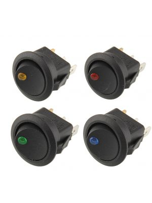 Round ON-OFF Push Button SPST Switch with dot LED indicator light  - 12V 16A DC 3PIN