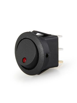 Round Rocker 12V 16A ON-Off SPST Switch for Auto/Car/Boat - with Indicator (RED DOT)