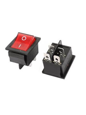 SQUARE RED 16A(MAX 250V) LED Dot Light Car Boat Square Rocker ON/OFF SPST Switch 4 Pins Toggle Button Switch