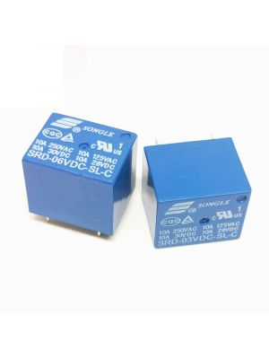 6V DC Power Relay - SRD-6VDC-SL-C DIP-5 - Non Latching SPDT 10A (250VAC, 30VDC) - Type PCB Mount