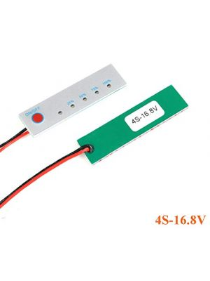 4S 16.8V Battery Power Indicator - 18650 Li-ion lipo Lithium Battery Capacity Indicator Power LED Display PCB Board Meter Tester - with Switch (4S 16.8V)