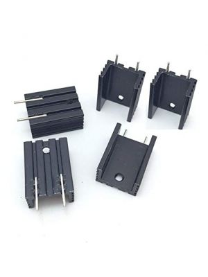 TO-220 20 * 15 * 10MM Aluminium Heatsink - suitable for IGBT Transistors MOSFET Triod IC (Black Anodised with Pin)