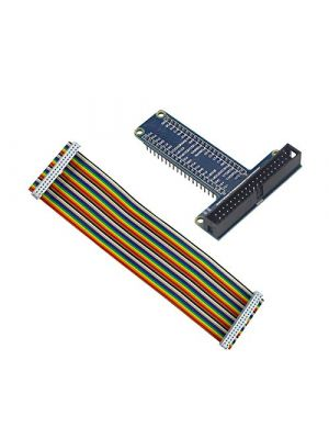 Blue RPi GPIO Breakout Expansion Board + 40pin Flat Rainbow Ribbon Cable for Raspberry Pi 4 3 2 Model B & B+