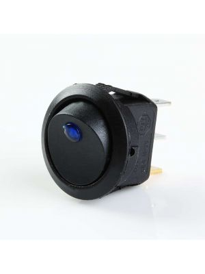 Round Rocker 12V 16A ON-Off SPST Switch for Auto/Car/Boat - with Indicator (BLUE DOT)