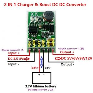 DD05CVSA 3.7V 4.2V Charger & Discharger Board DC DC Converter Boost Module for UPS Mobile Power 18650 Lithium Battery (9V)