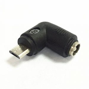 DC Power socket 5.5 x 2.1 mm FEMALE -to- MALE USB Mini B pin | 90 Degree angled | Connector Adapter Converter