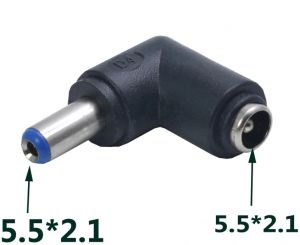 DC Power socket 5.5 x 2.1 mm FEMALE -to- MALE DC Plug 5.5 x 2.1 mm | 90 Degree angled | Connector Adapter Converter