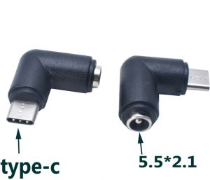 DC Power socket 5.5 x 2.1 mm FEMALE -to- MALE USB Type C pin | 90 Degree angled | Connector Adapter Converter