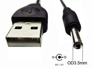 USB A Male to DC 3.5 x 1.35 mm Power Plug Socket Connector Adapter Converter - with Cord