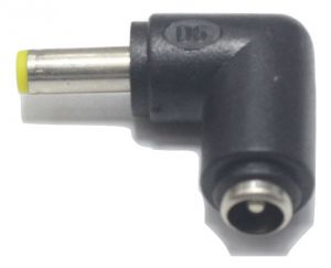 DC Power socket 5.5 x 2.1 mm FEMALE -to- MALE DC Plug 5.5 x 1.7 mm   90 Degree angled   Connector Adapter Converter