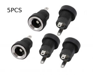 DC Power Supply Jack Socket Female Connector - Round Panel Chasis Mount 12V 3A (2.1 x 5.5mm)