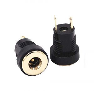 DC Power Supply Jack Socket Female Connector - Round Panel Chasis Mount 12V 3A (1.3 x 3.5mm Gold Socket)
