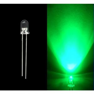 5MM GREEN Water Clear Transparent Round (Candle) LED / Light Emitting Diodes