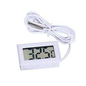 Temperature Sensor meter - with Mini LCD Digital Display waterproof sensor - for Incubator Aquarium Soil Temperature (White)
