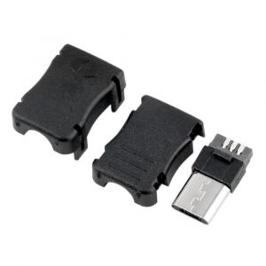 10pcs Type B Micro USB Male USB 2.0-5 Pin T Port Plug Connector - with Black Plastic Cover - DIY Kit