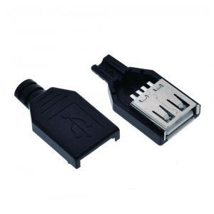 Type A Female USB 2.0-4 Pin Socket Connector - with Black Plastic Cover - DIY Kit