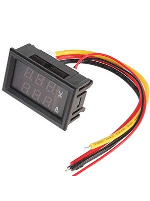 0.28 inch 10A 0-100V Dual LED Voltmeter Ammeter Blue Red with Onboard Diverter (10A)