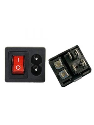 IEC320 C8 Power Cord Inlet Socket Receptacle with ON-Off Red Light Rocker Switch - 250V 2.5A for Computer Amplifier